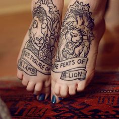 Etching style lamb and lion tattoo.
