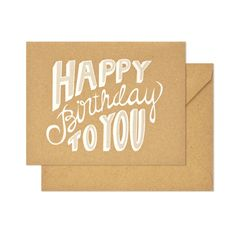 Birthday letterpress card. white foil on kraft paper, hand lettering by Molly Jacques. from sugarpaper.com