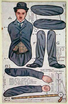 Charlie Chaplin . Montaje de nuestra marioneta de papel