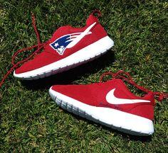 08e088d0734b2 ... Nike Roshe Run Grey White New England Patriots V5 by NYCustoms c  Pinterest Nike roshe and ...