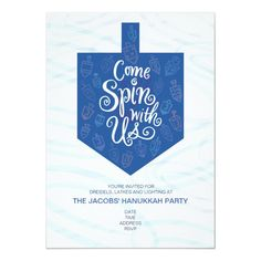 Shop Hanukkah Party Invitation / Come Spin With Us created by laurabolterdesign. Personalize it with photos & text or purchase as is! Feliz Hanukkah, Hanukkah Crafts, Hannukah, Kwanzaa, Jewish Celebrations, Hanukkah Celebration, How To Celebrate Hanukkah, Holiday Party Invitations, Festival Lights