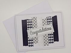 Washi Tape Cards, Washi Tapes, Graduation Cards Handmade, Pokerface, Black And White Theme, Challenge Ideas, Tape Crafts, Paper Gifts, Cards