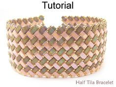 2 Hole Miyuki Half Tila Modified Herringbone Stitch Beaded Bracelet Beading Pattern Tutorial | Simple Bead Patterns
