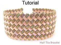 2 Hole Miyuki Half Tila Modified Herringbone Stitch Beaded Bracelet Beading Pattern Tutorial   Simple Bead Patterns