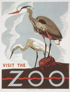 Retro zoo poster. Love the forms.