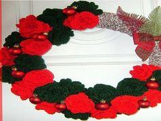 Corona navideña a crochet imagenes