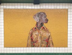 Is this the MTA giving New Yorkers an implicit signal that dogs belong on the subway? I and my stoic mosaic friends choose to believe. Nyc Subway, Subway Art, William Wegman, Famous Dogs, Cheer Up, Weimaraner Puppies, Mosaic Art, Mosaics, Moose Art