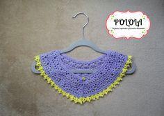 Cuellito tejido a crochet en tono lila y el borde amarillo. Trabajo artesanal hecho a mano, tecnica crochet Crochet Earrings, Jewelry, Fashion, Craft Work, Hue, Yellow, Lilac, Handmade, Jewellery Making