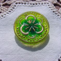 beyond beautiful buttons cherry lime vintage bead glass button pansies ...
