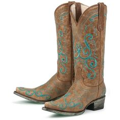 Lane Boots San Miguel with Blue Stitching Leather Fashion Cowgirl... ($150) ❤ liked on Polyvore