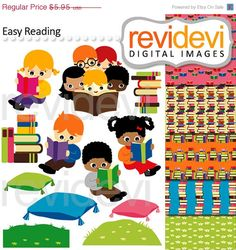 Kids reading cliparts. Boys, girls, books, cushions. Digital graphic clip arts and background for your craft and creative projects. For Commercial Use