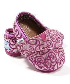 Again, probably wouldn't work with her braces, but too cute!  Lilac Swirls Glitter Classics - Tiny Toms