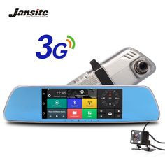 "Jansite 3G Macchina Fotografica da 7 ""Touch screen Android 5.0 GPS car video recorder Bluetooth specchio retrovisore Dash Cam Dvr Auto con Doppio Obiettivo"