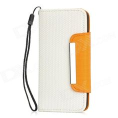 Quantity: 1 Piece; Color: White + Orange; Material: PU leather + ABS + Magnet; Compatible Models: Iphone 5; Other Features: With magnetic snap and card slots inside; Protects your device from scratches dust and shock; Packing List: 1 x Case; 1 x Strap (17cm); http://j.mp/1lkvaQQ