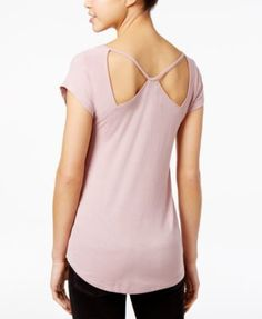 Almost Famous Juniors' Strappy Cutout T-Shirt $9.99 Add a little flirty style to your casual look in this strappy cutout T-shirt from Almost Famous.