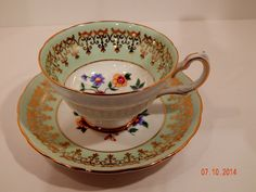 Grosvenor Lime Green Floral Pattern Tea Cup and Saucer Made in England  #GrosvenorTeaCupandSaucerMadeinEngland