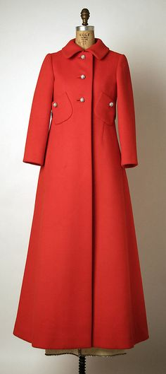 Red wool evening coat with rhinestone buttons and belt (front), by Pattullo-Jo Copeland, Inc., American, fall/winter 1967-68. Worn with white silk evening gown with rhinestone edging and matching belt, white leather wrist-length gloves, white satin evening shoes with rhinestone bows, nylon stockings, and rhinestone dangle earrings.