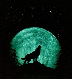 Wolf Moon Painting Original Art Glow in the dark by TrueAcrylics