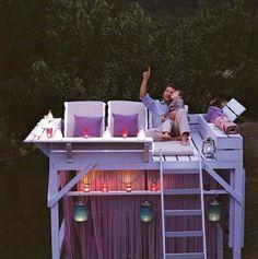 Bunk bed made into a star-gazing platform via blogs.babble.com