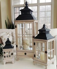 Marshall Home and Garden Grand Haven Lantern Set Lantern Image, Lantern Set, Lantern Candle Holders, Wooden Lanterns, Lanterns Decor, Candle Lanterns, Decorating With Lanterns, Indoor Lanterns, Decorative Lanterns