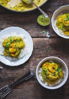 Crevettes au curry vert & lait de coco
