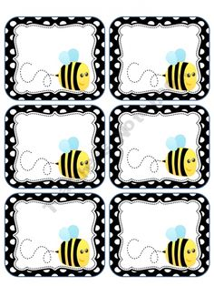This packet includes bee labels. You may print these on cardstock or full label sheets as they do not fit a certain size. This is for personal . Classroom Themes, Classroom Organization, Spelling Bee, Bee Party, Educational Crafts, Teacher Notebook, Bee Theme, Beginning Of School, Busy Bee