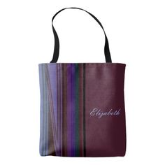 #stripes - #Personalized Multicolor Stripes on Magenta Tote Bag