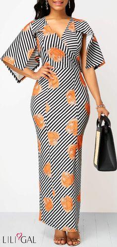 V Neck Half Sleeve Striped Maxi Dress African Fashion Ankara, Latest African Fashion Dresses, African Print Fashion, African Dresses For Women, African Print Dresses, African Attire, Striped Maxi Dresses, Casual Dresses, Half Sleeve Dresses
