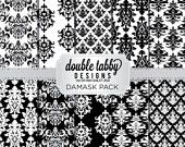 Damask Digital Paper Pack Instant Download Black and White printable DIY scrapbook personal and commercial use
