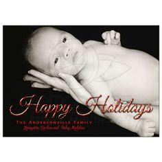Cheery Polka Dot Holiday Photo Template Greeting Card
