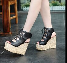Free shipping 2016 women summer street style handsome lace up shoes women opened toe Soft dough thick crust fish head shoes(China (Mainland))
