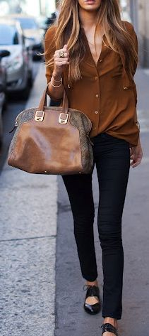 Black pants, brown shirt, brown leather bag, oxford shoes