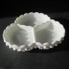 Vintage Fenton Hobnail milk glass Relish Tray