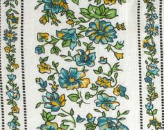 """45"""" x 37"""" w Vintage Feedsack Floral Stripe Green and Blue Cotton Quilt Fabric"""