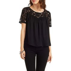 Charlotte Russe Lattice-Back Lace Yoke Top ($25) found on Polyvore featuring tops, blouses, black, short sleeve blouse, sheer black top, sheer lace top, black floral blouse and sheer blouse