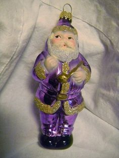 Santa Claus Purple Suit Christmas Ornament Hand Blown Painted Glass