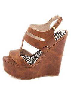 60eca8735 Love me some wedges!Peep Toe T-Strap Platform Wedge Sandals  Charlotte Russe