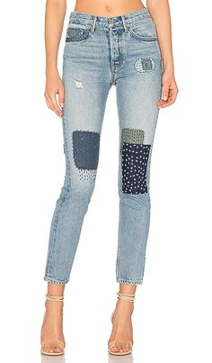 patches jeans High Waisted Distressed Jeans 969e3fde20e5