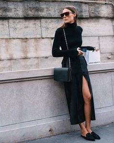 Skirt: slit maxi maxi black slit bag black bag chain bag top turtleneck sunglasses fall outfits all