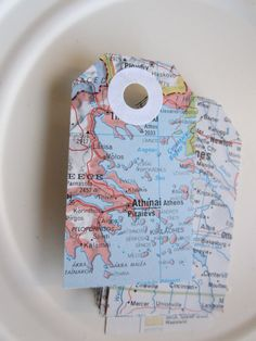 Travel Theme Wedding Gift Tags Vintage Map Hole by MagpieandMax, $23.50