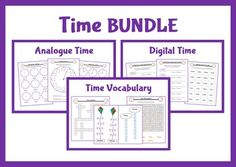 Write the time shown on 12 and 24 hour digital clocks.  Activities involving time vocabulary. These include ordering, word searches, rearranging muddled letters, a crossword and an activity to show how many days are in each month.