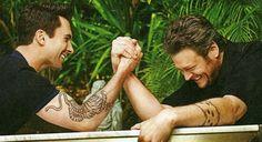 Adam Levine and Blake Shelton...too much sexy.