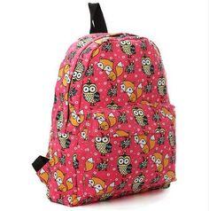 062b2c03bd8 DISCOUNT Kople 2016 Cartoon Owl Fox Girl/Boy Student Shoulder Bag Fashion  Women Travel Satchel Canvas School Backpack