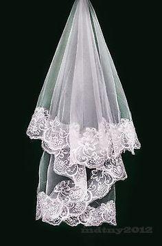 Long bridal wedding 1T Veil White Ivory 1.5m elbow Lace Edge