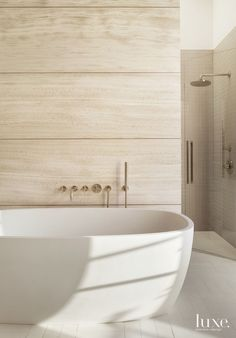 Modern Limestone Master Bath | LuxeSource | Luxe Magazine - The Luxury Home Redefined
