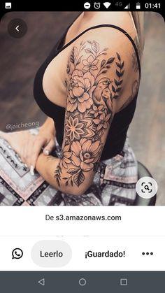 Girl Half Sleeve Tattoos, Half Sleeve Tattoo Upper Arm, Half Sleeve Flower Tattoo, Arm Sleeve Tattoos For Women, Floral Arm Tattoo, Quarter Sleeve Tattoos, Girl Arm Tattoos, Shoulder Tattoos For Women, Flower Tattoo Shoulder