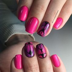 Bright summer nails, Drawings on nails, Gradient nail art, Nails ideas 2016, Nails trends 2016, Nailswith black pattern, Pink manicure ideas, Pink nails with patterns