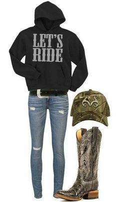 """""""Lets Ride"""" Like the sweatshirt, not the skinny jeans. I love the boots and the sweatshirt and the hat maybe some other jeans then skinny Country Style Outfits, Country Girl Style, Cute N Country, Country Fashion, My Style, Country Wear, Country Casual, Country Girl Clothes, Country Girl Shirts"""