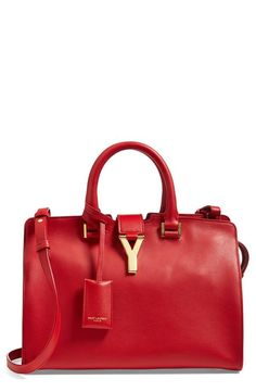 In love with this red hot Saint Laurent 'Petite Ligne Y' leather tote.