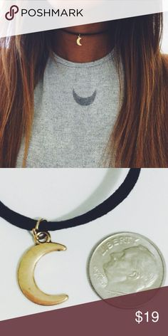 """Moon Choker One Size - 12.5"""" with 2"""" extensions. Material content is alloy with gold plated moon & leather rope! Jewelry Necklaces"""